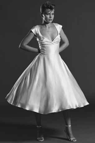 Martha - short 1950s wedding dress with cap sleeves