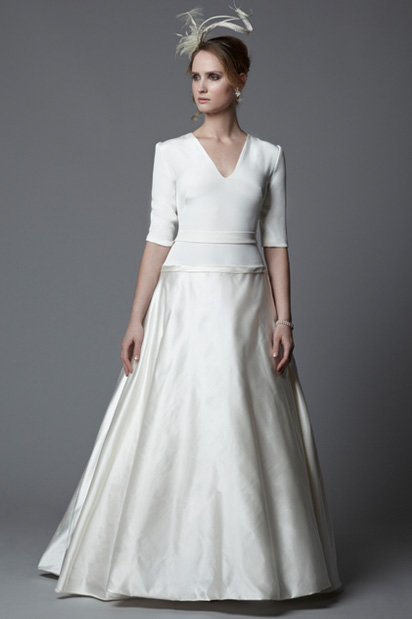 Amelia with elbow length sleeves wedding dress