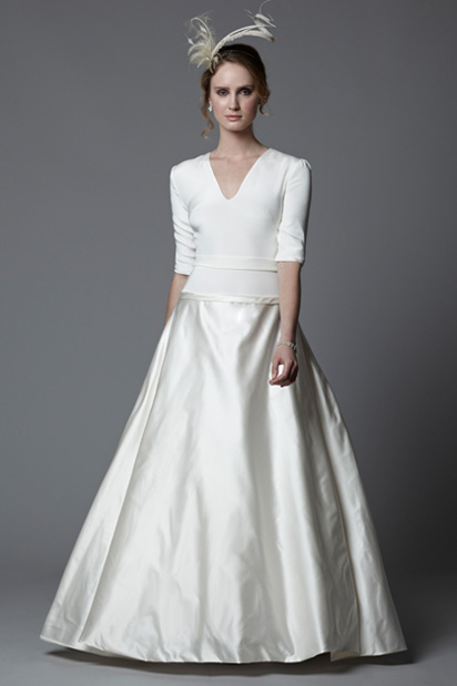 fifties vintage inspired long sleeve wedding dress