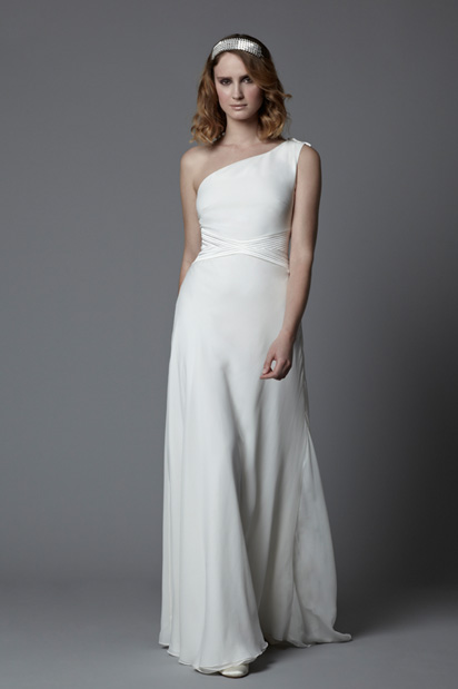 one shoulder vintage wedding gown