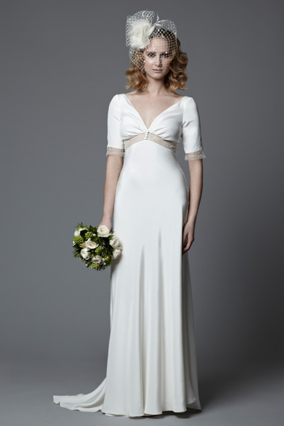 1940s vintage style wedding dress with sleeves