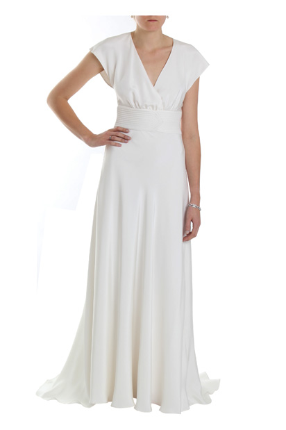 Rebecca 1940s vintage wedding dress with quited waistband