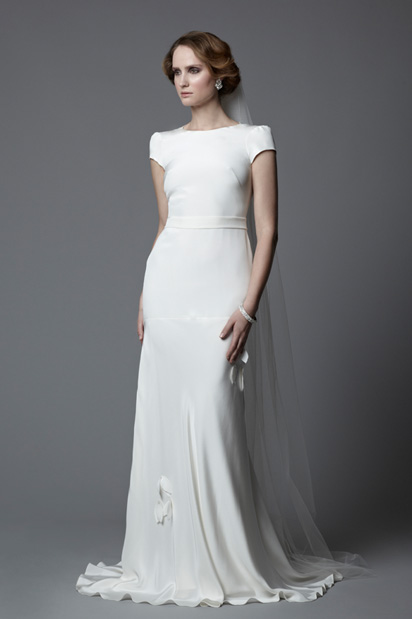 Tallulah cap sleeves wedding dress vintage inspired